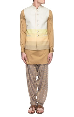 Sarab Khanijou color blocked waist coast with a tan kurta & grey patiala