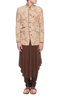 Sarab Khanijou beige floral jacket with brown kurta & churidar