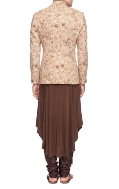 beige floral jacket with brown kurta & churidar