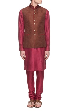 Sarab Khanijou rani pink kurta set with brown embroidered waistcoat