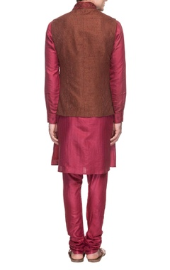 rani pink kurta set with brown embroidered waistcoat