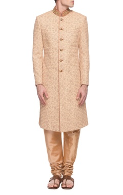 Sarab Khanijou beige digital printed sherwani with churidar