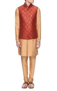 gold & red kurta set with bandi jacket