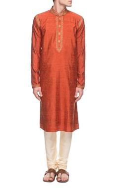 Vanshik Rust orange embroidered kurta set
