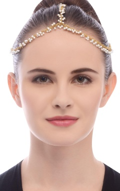 Gold plated head chain with pearls