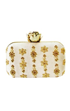 Ivory zardozi butti embroidered clutch