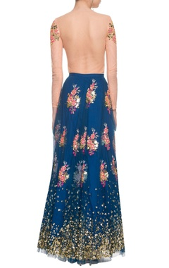 imperial blue & cream floral sequined lehenga set