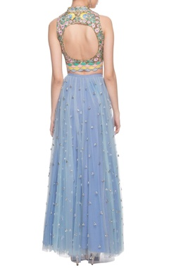 Vista blue sequined and floral work lehenga set