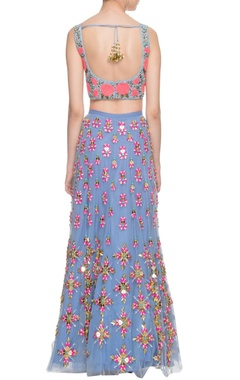 Pastel & cerulean blue embroidered lehenga set
