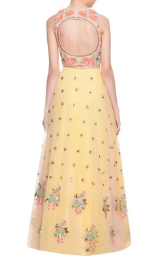 Peach & pastel yellow embellished lehenga set