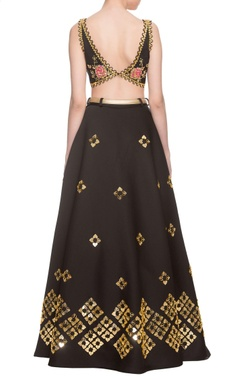 black embellished lehenga set with belt