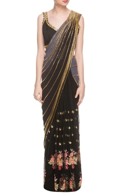 Black embellished sari & blouse