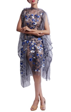 blue floral & printed dress with inner