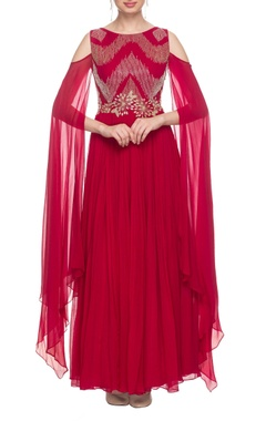 Cherry red embroidered gown with sleeve detail
