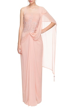 Blush pink drape gown with applique work