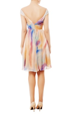 Multi-colored off shoulder dress