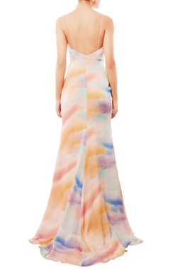 Multi-colored cloud print gown