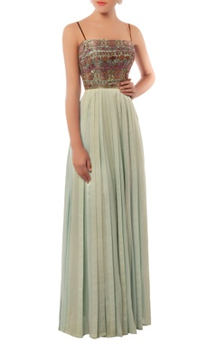 Shehlaa Khan Pastel blue embellished gown