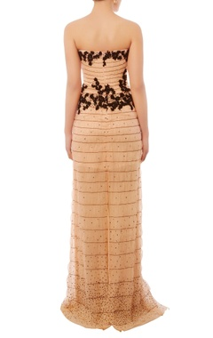 Pale pink & black embroidered tube gown