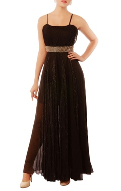 Shehlaa Khan black embroidered gown