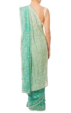 Sky blue & turquoise embellished sari