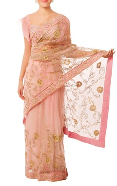 Shehlaa Khan Baby pink & gold embroidered sari