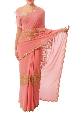 Shehlaa Khan Coral pink & gold embroidered sari