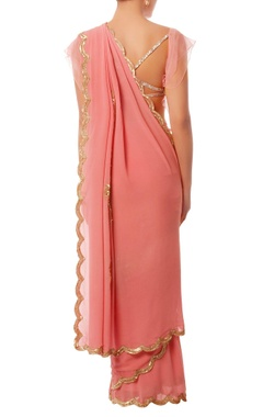 Coral pink & gold embroidered sari