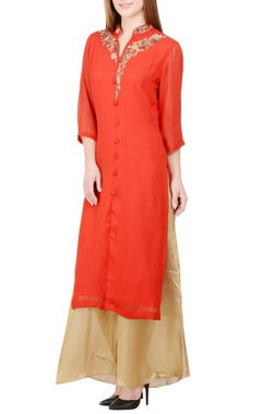 Red & gold embroidered kurta with palazzos