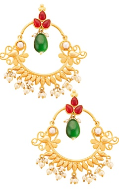 gold plated earrings with semi-precious stones & pearls