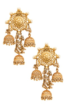 gold plated carved jhumkas with pearls