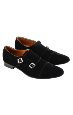 jet black monk strap shoes