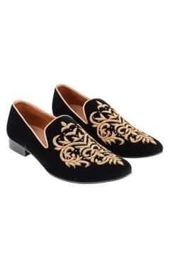 black zardozi embroidered loafers