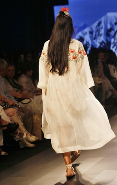 White printed dress with embroidered jacket