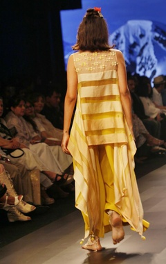Yellow striped asymmetric tunic with palazzos