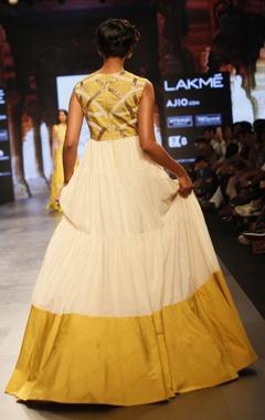 White and yellow flared anarkali dress