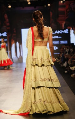 Pale yellow embroidered & ruffled lehenga set