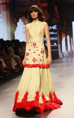 Divya Reddy Pale yellow and red embroidered dress