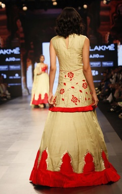 Pale yellow and red embroidered dress