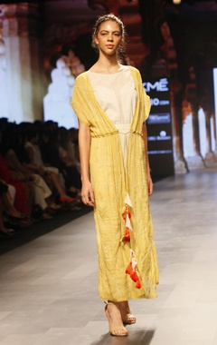 Divya Reddy White & yellow floor length organic cotton dress