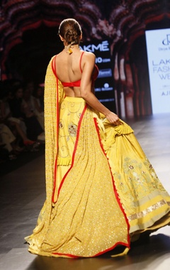 Red & yellow bralette and embroidered lehenga