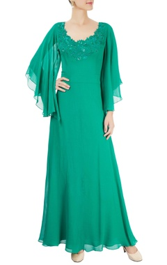 Mandira Wirk Sea green cowl neck embroidered gown