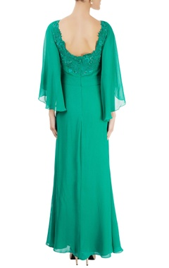 Sea green cowl neck embroidered gown