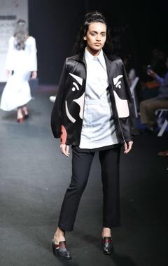 Black applique surface jacket