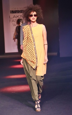 Orange asymmetric kurta with drape