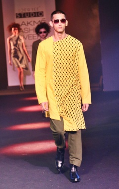 Yellow printed asymmetric kurta