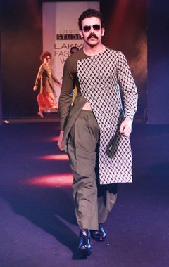 Olive green & white printed asymmetric kurta