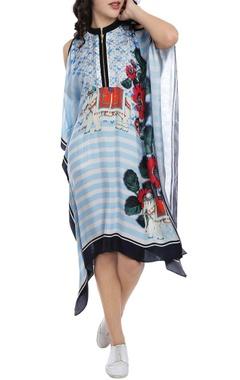 Baby blue striped kaftan dress with zipper