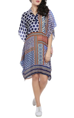 Multi-colored patchwork printed kaftan dress