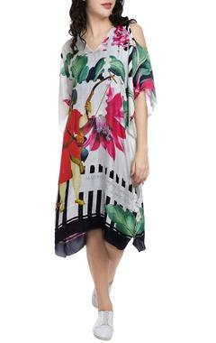 White cold shoulder printed kaftan dress
